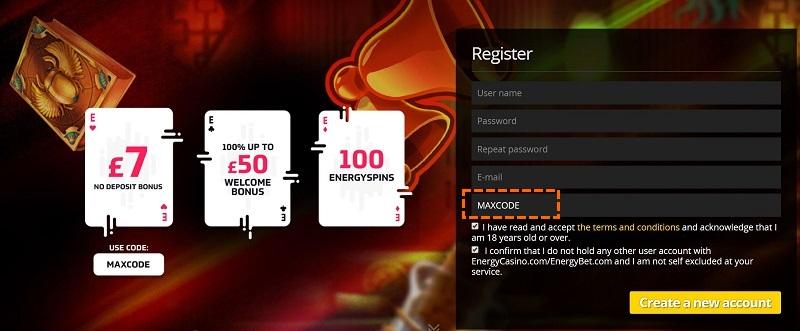 Energy Casino Promocode