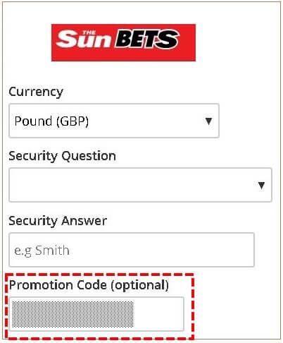 SunBets promotion code