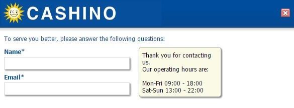 Cashino customer support