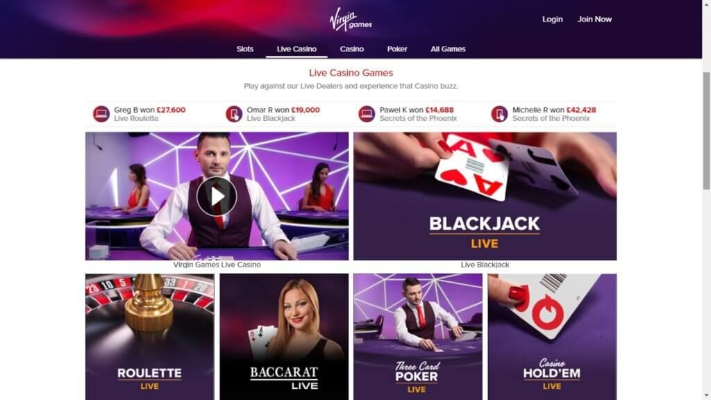 virgin games live casino games