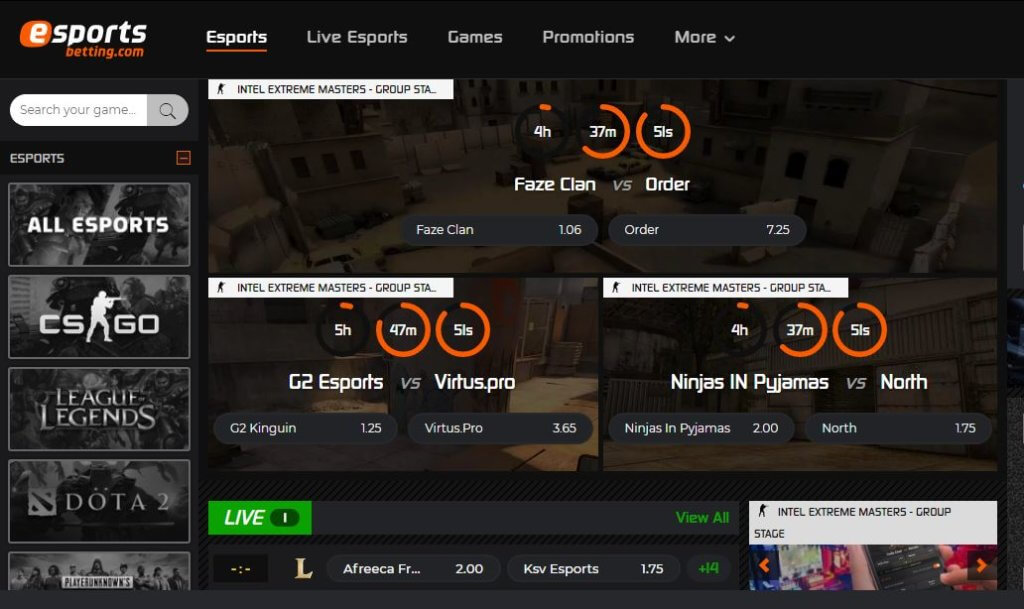 eSportsBetting Live Gaming