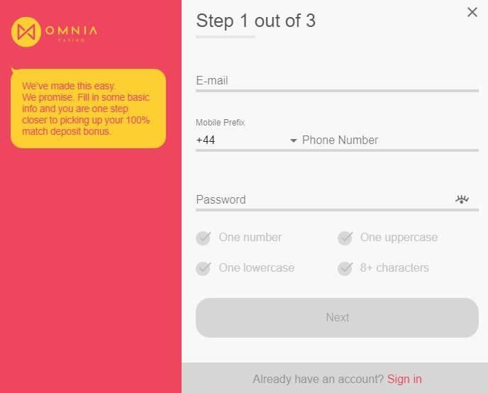 Omnia Casino bonus code