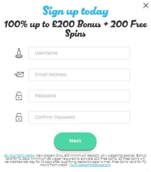 Casino Joy Registration form