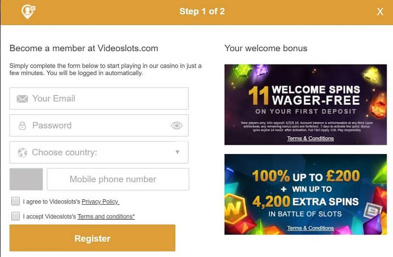 Videoslots registration