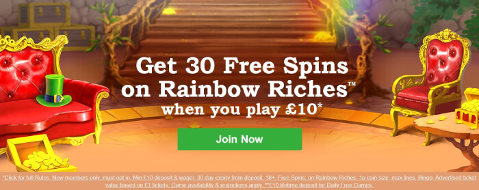 Rainbow Riches Welcome Bonus