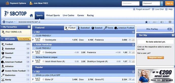 SBOTOP Sports Betting Markets