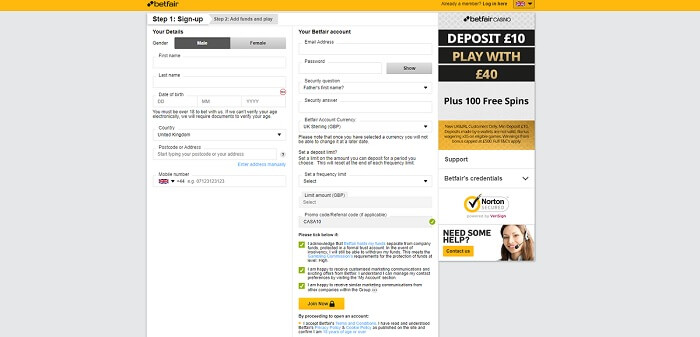 Betfair Casino Register