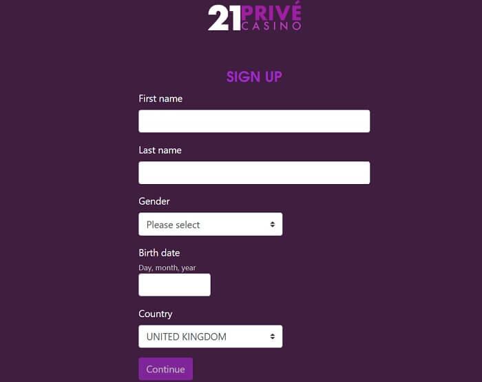21Prive Registration form